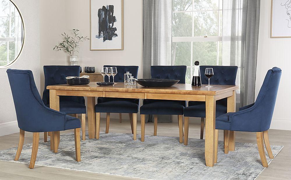 Highbury Oak Extending Dining Table with 6 Duke Blue Velvet Chairs