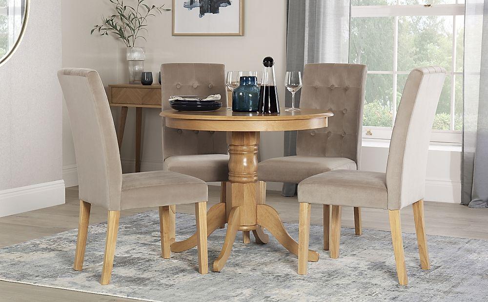 Kingston Round Oak Dining Table with 4 Regent Mink Velvet Chairs