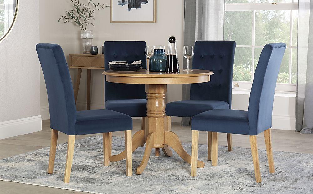 Kingston Round Oak Dining Table with 4 Regent Blue Velvet Chairs