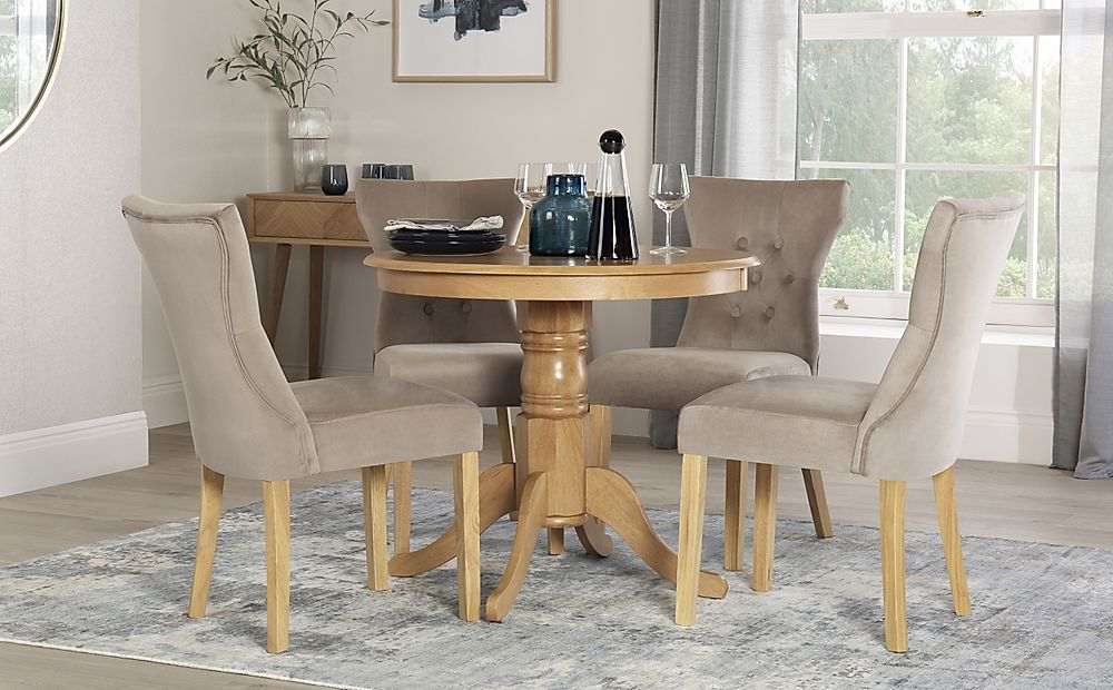 Kingston Round Oak Dining Table with 4 Bewley Mink Velvet Chairs