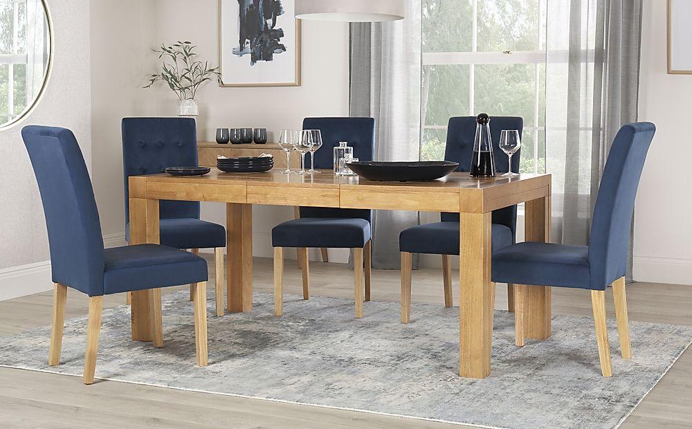 Cambridge 125-170cm Oak Extending Dining Table with 6 Regent Blue Velvet Chairs