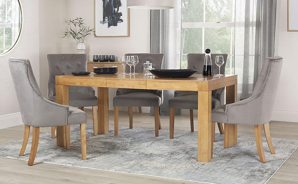 Cambridge 125-170cm Oak Extending Dining Table with 6 Duke Grey Velvet Chairs