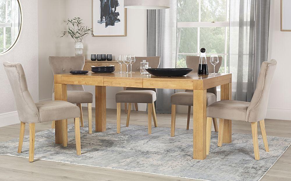 Cambridge 125-170cm Oak Extending Dining Table with 6 Bewley Mink Velvet Chairs
