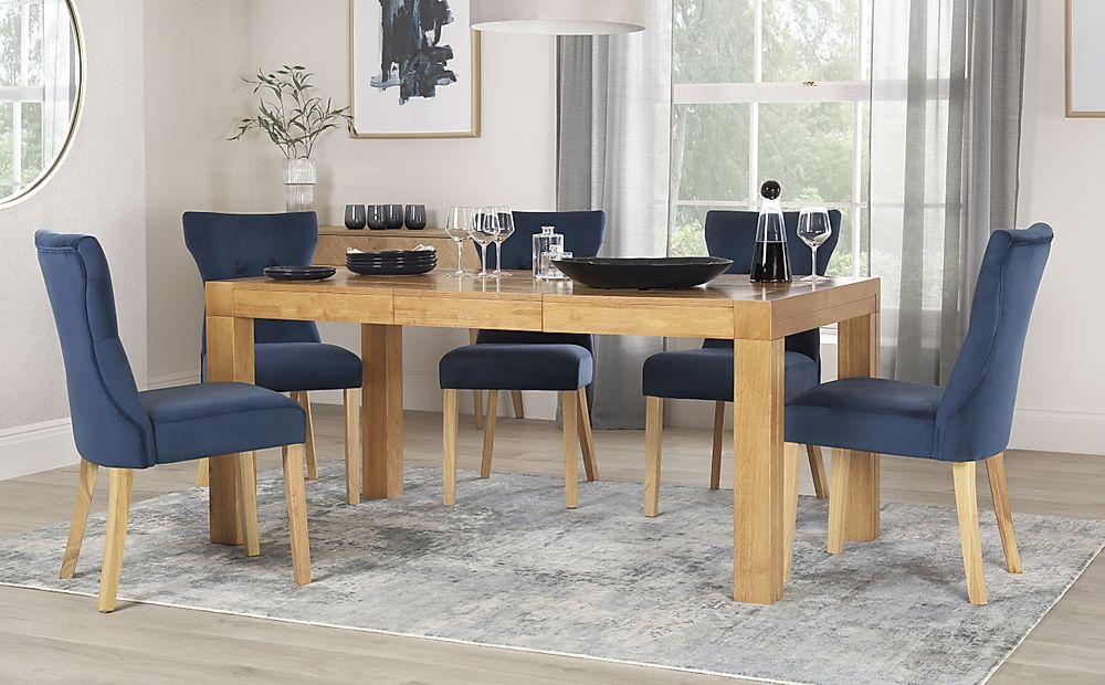 Cambridge 125-170cm Oak Extending Dining Table with 6 Bewley Blue Velvet Chairs