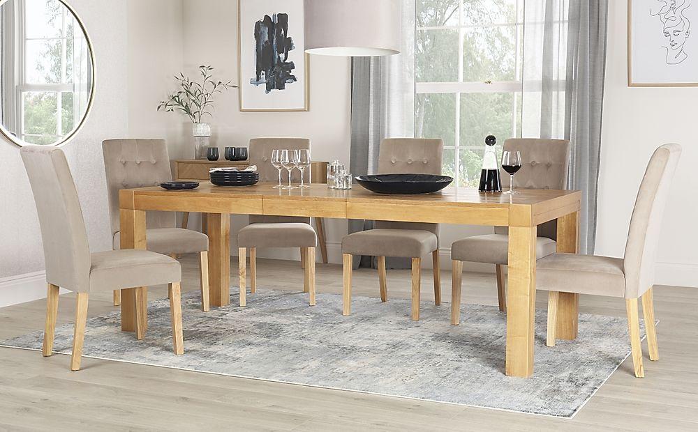 Cambridge Oak 175-220cm Extending Dining Table with 6 Regent Mink Velvet Chairs