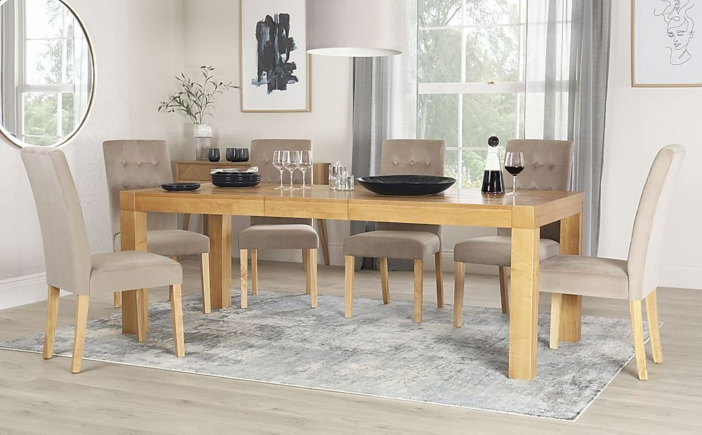 Cambridge 175-220cm Oak Extending Dining Table with 8 Regent Mink Velvet Chairs