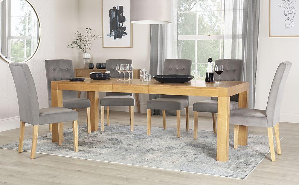 Cambridge 175-220cm Oak Extending Dining Table with 8 Regent Grey Velvet Chairs