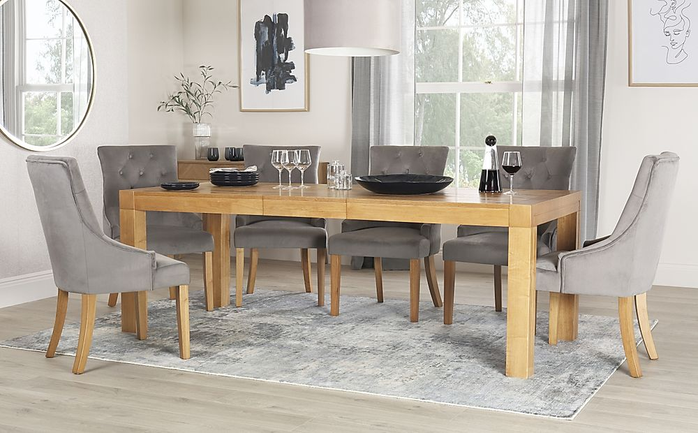 Cambridge Oak 175-220cm Extending Dining Table with 8 Duke Grey Velvet Chairs
