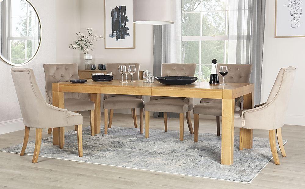 Cambridge 175-220cm Oak Extending Dining Table with 6 Duke Mink Velvet Chairs