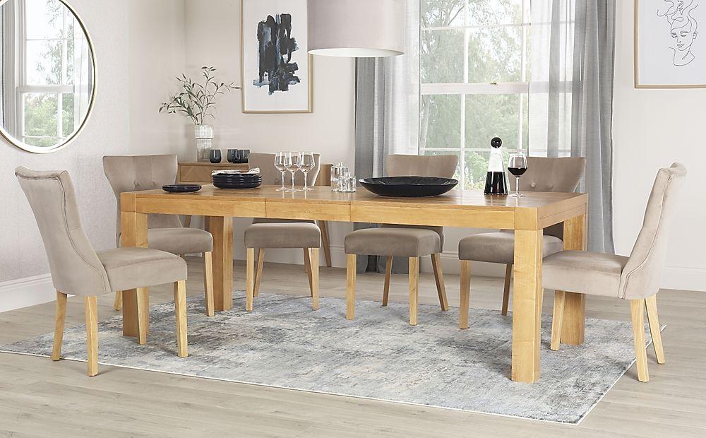 Cambridge 175-220cm Oak Extending Dining Table with 4 Bewley Mink Velvet Chairs