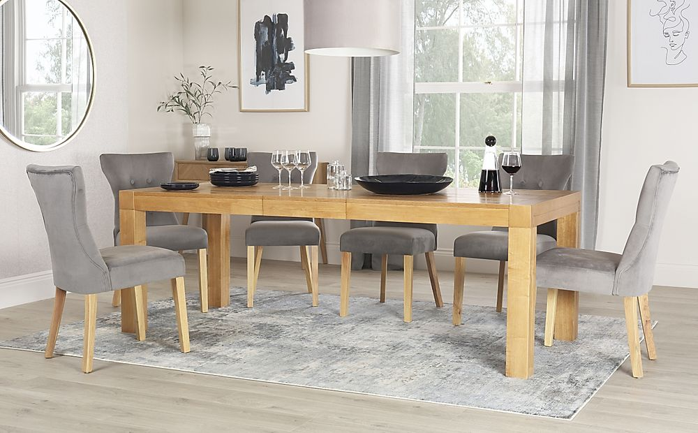 Cambridge 175-220cm Oak Extending Dining Table with 6 Bewley Grey Velvet Chairs