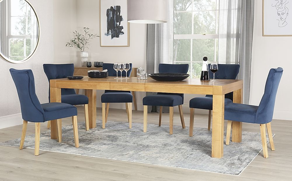 Cambridge 175-220cm Oak Extending Dining Table with 8 Bewley Blue Velvet Chairs