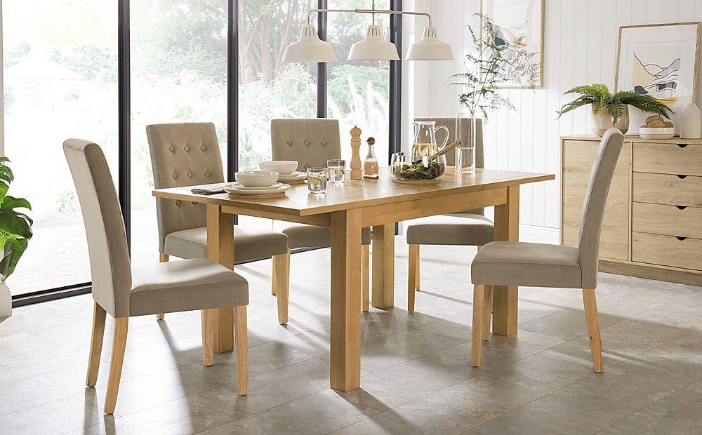 Hamilton 120-170cm Oak Extending Dining Table with 4 Regent Mink Velvet Chairs