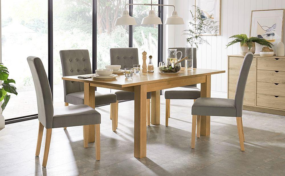 Hamilton 120-170cm Oak Extending Dining Table with 6 Regent Grey Velvet Chairs