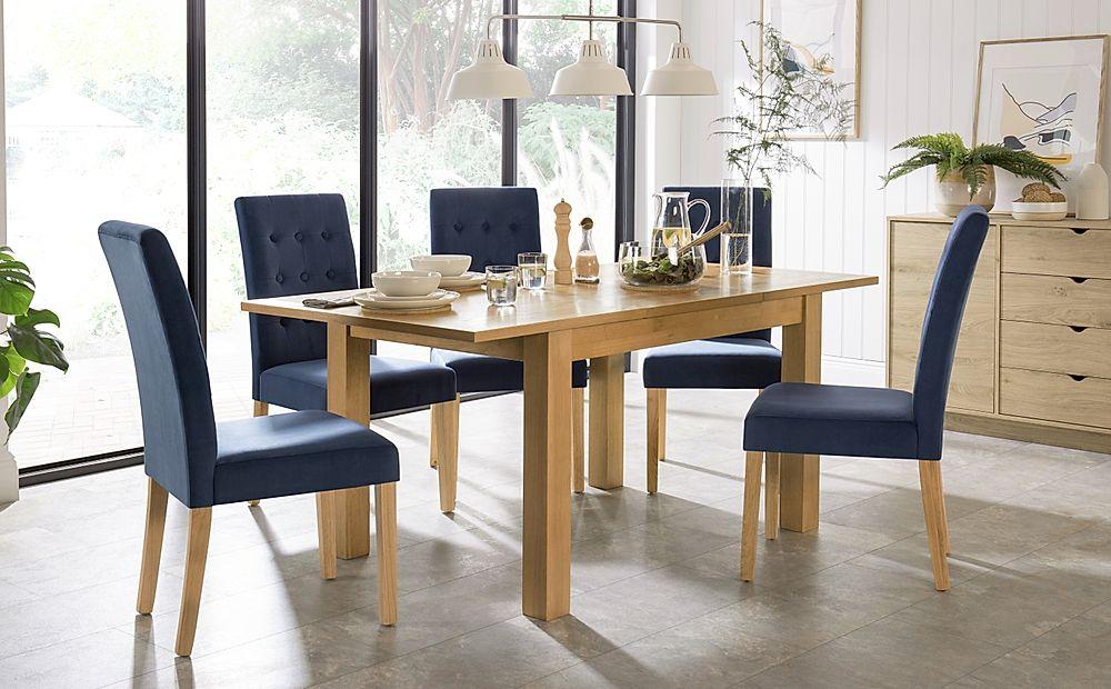 Hamilton 120-170cm Oak Extending Dining Table with 4 Regent Blue Velvet Chairs