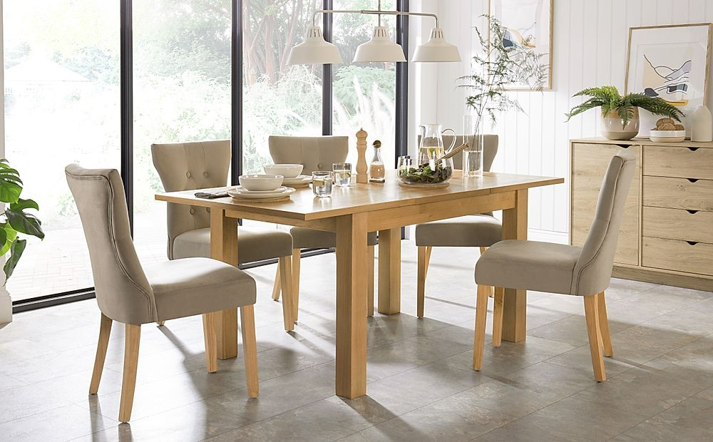 Hamilton 120-170cm Oak Extending Dining Table with 4 Bewley Mink Velvet Chairs