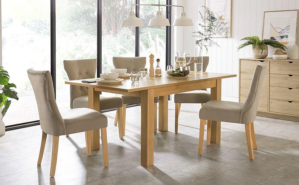 Hamilton 120-170cm Oak Extending Dining Table with 6 Bewley Mink Velvet Chairs