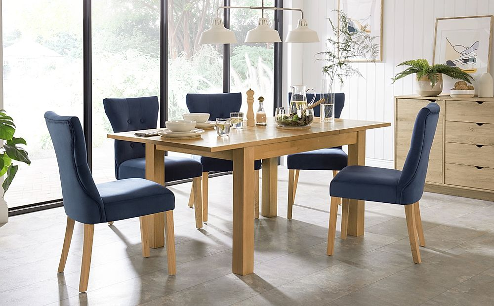 Hamilton 120-170cm Oak Extending Dining Table with 4 Bewley Blue Velvet Chairs