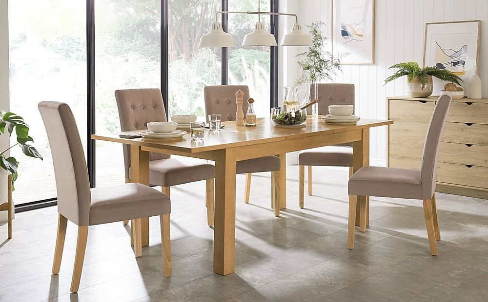 Hamilton 150-200cm Oak Extending Dining Table with 4 Regent Mink Velvet Chairs