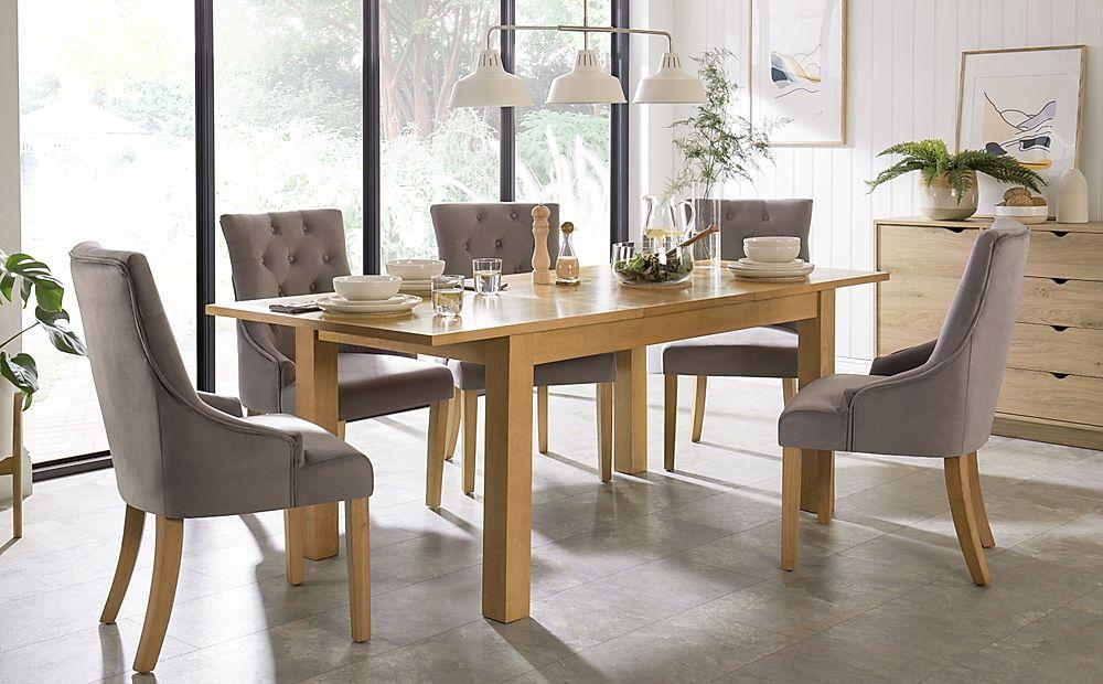 Hamilton 150-200cm Oak Extending Dining Table with 4 Duke Grey Velvet Chairs