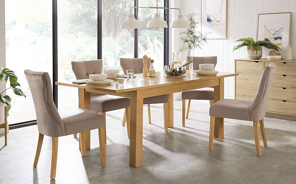 Hamilton 150-200cm Oak Extending Dining Table with 4 Bewley Mink Velvet Chairs