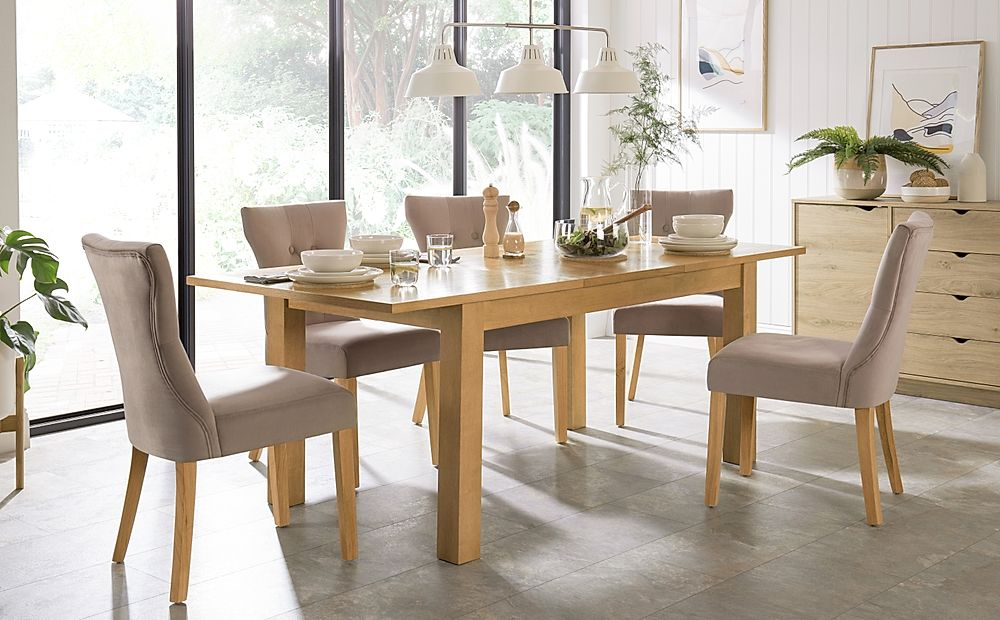 Hamilton 150-200cm Oak Extending Dining Table with 6 Bewley Mink Velvet Chairs