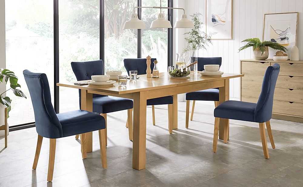 Hamilton 150-200cm Oak Extending Dining Table with 4 Bewley Blue Velvet Chairs