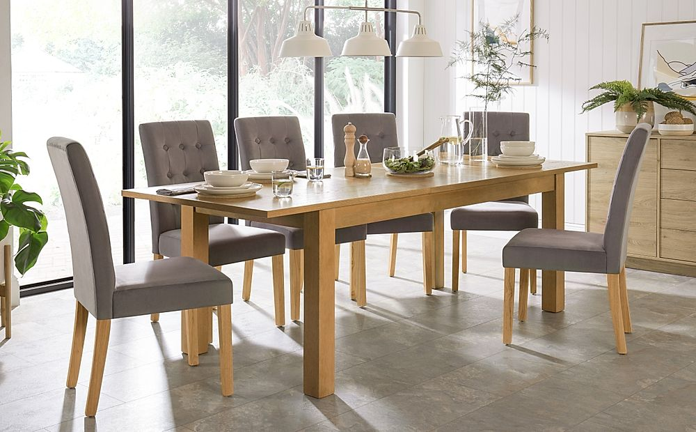 Hamilton 180-230cm Oak Extending Dining Table with 6 Regent Grey Velvet Chairs