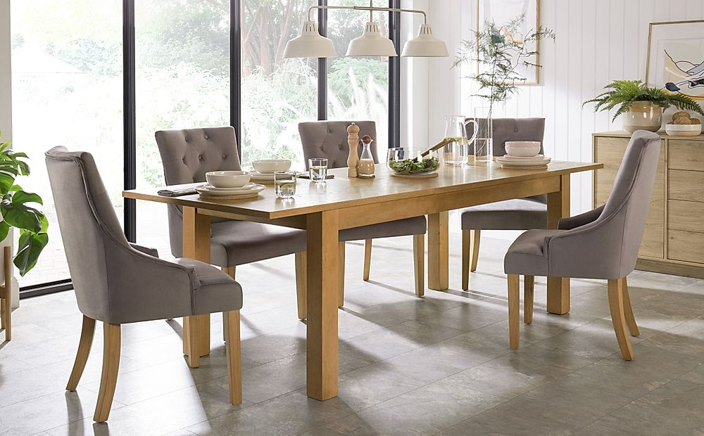 Hamilton Oak 180-230cm Extending Dining Table with 6 Duke Grey Velvet Chairs