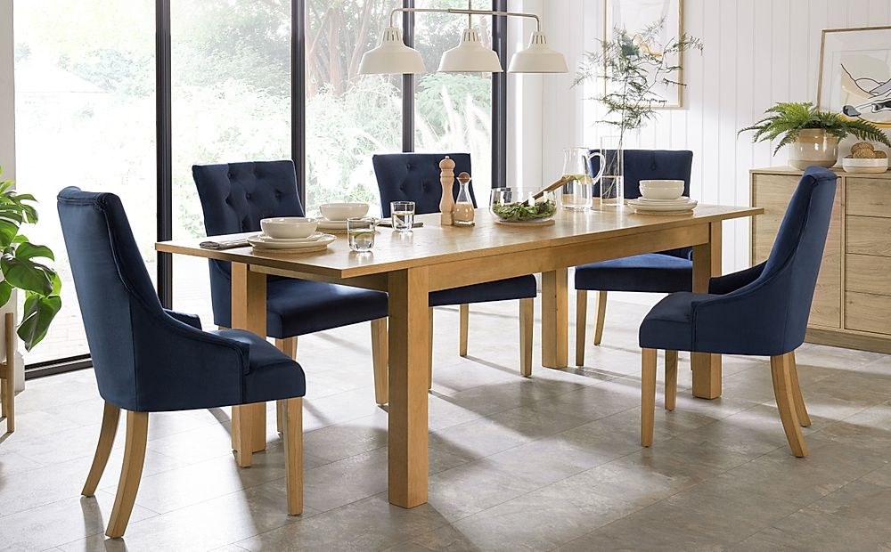 Hamilton 180-230cm Oak Extending Dining Table with 6 Duke Blue Velvet Chairs