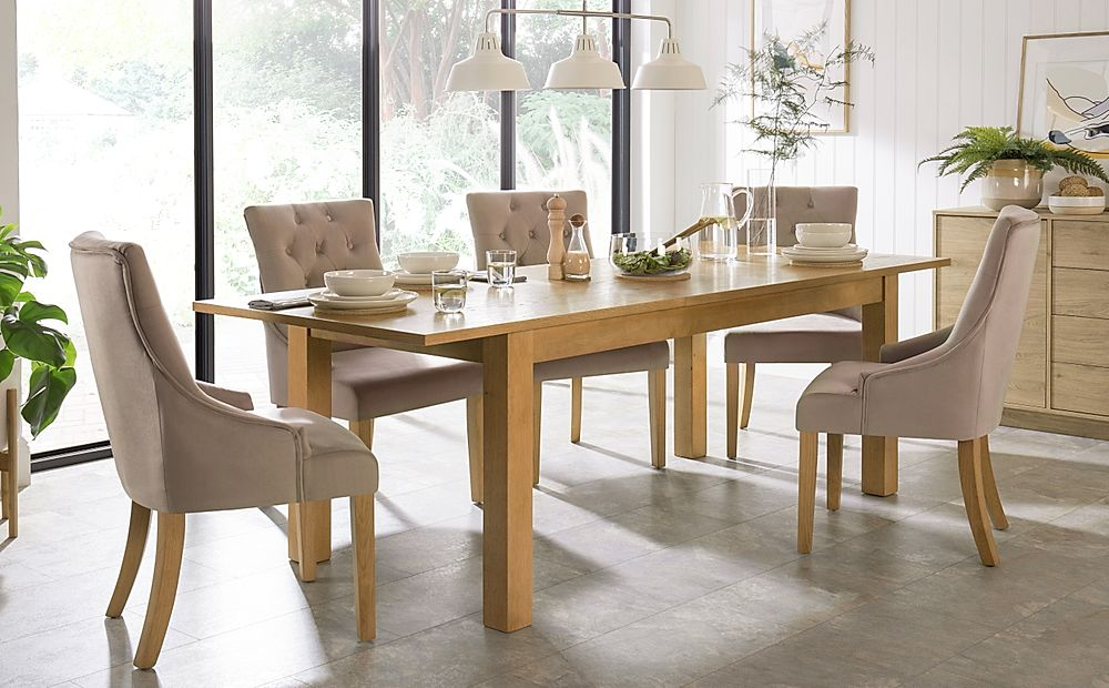 Hamilton 180-230cm Oak Extending Dining Table with 6 Duke Mink Velvet Chairs