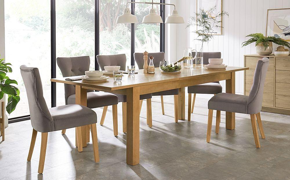Hamilton 180-230cm Oak Extending Dining Table with 6 Bewley Grey Velvet Chairs