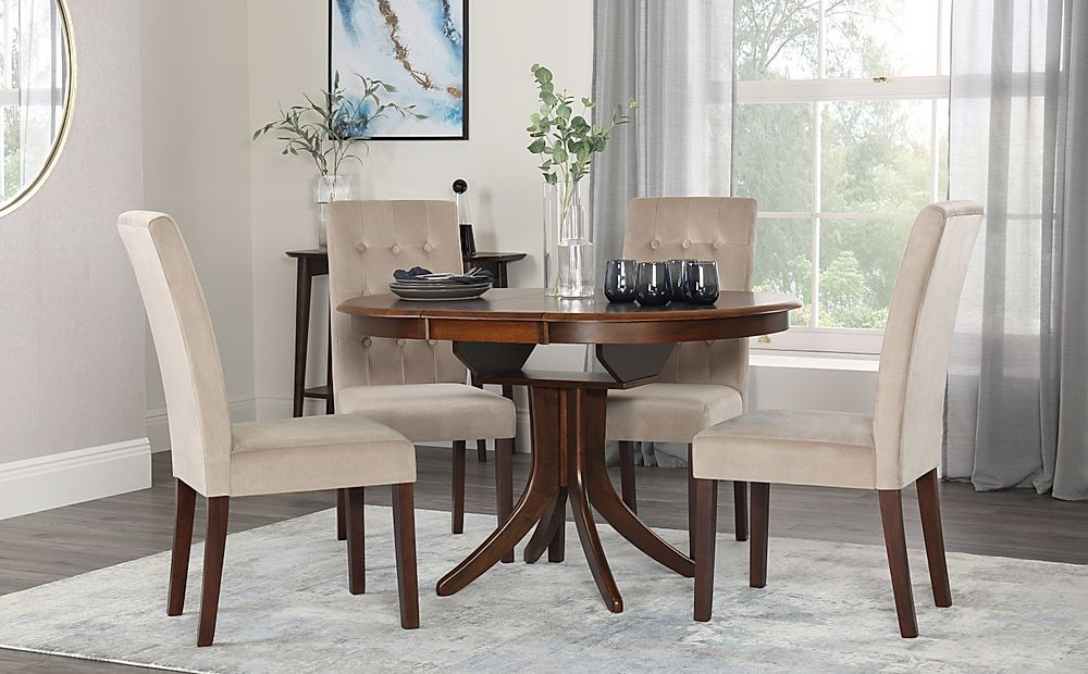 Hudson Round Dark Wood Extending Dining Table with 4 Regent Mink Velvet Chairs