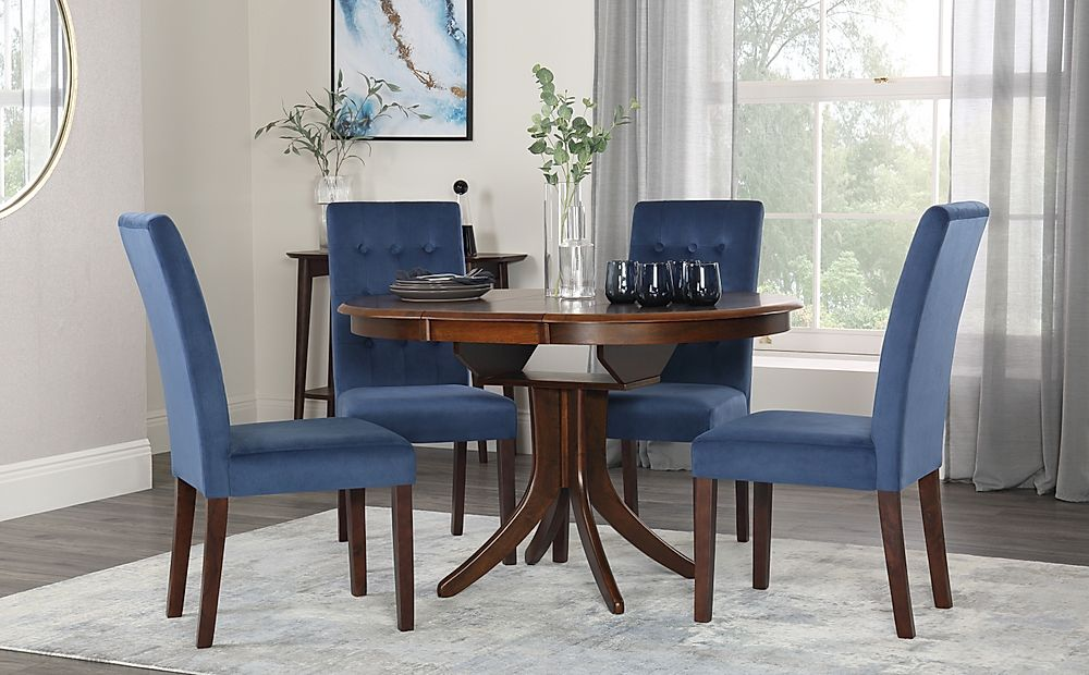 Hudson Round Walnut Extending Dining Table with 4 Regent Blue Velvet Chairs