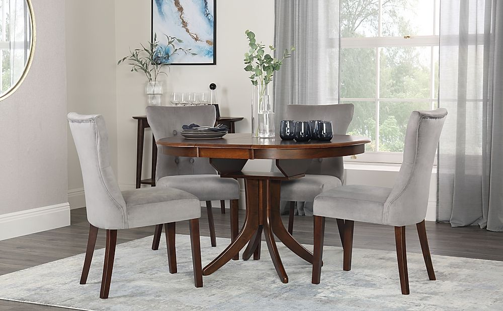 Hudson Round Dark Wood Extending Dining Table with 4 Bewley Grey Velvet Chairs