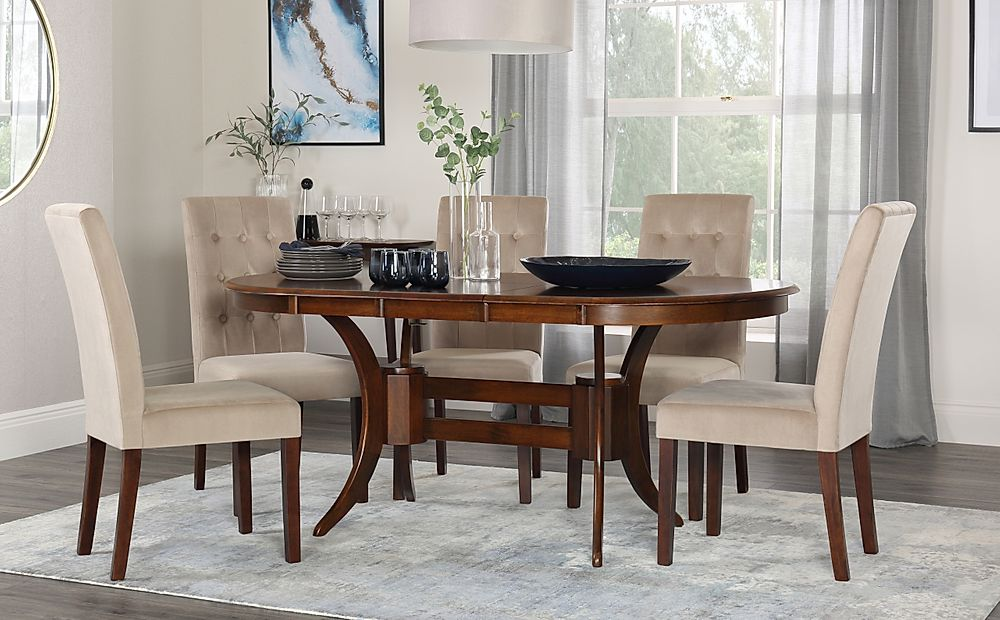 Townhouse Oval Dark Wood Extending Dining Table with 4 Regent Mink Velvet Chairs