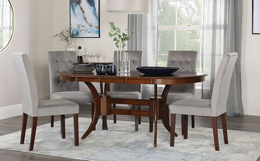 Townhouse Oval Walnut Extending Dining Table with 6 Regent Grey Velvet Chairs