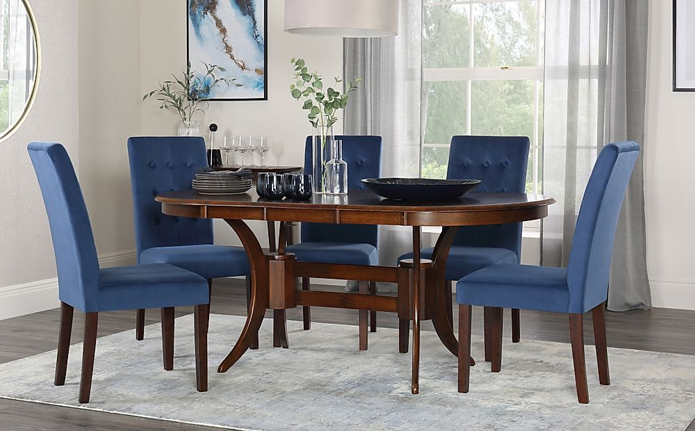 Townhouse Oval Walnut Extending Dining Table with 4 Regent Blue Velvet Chairs