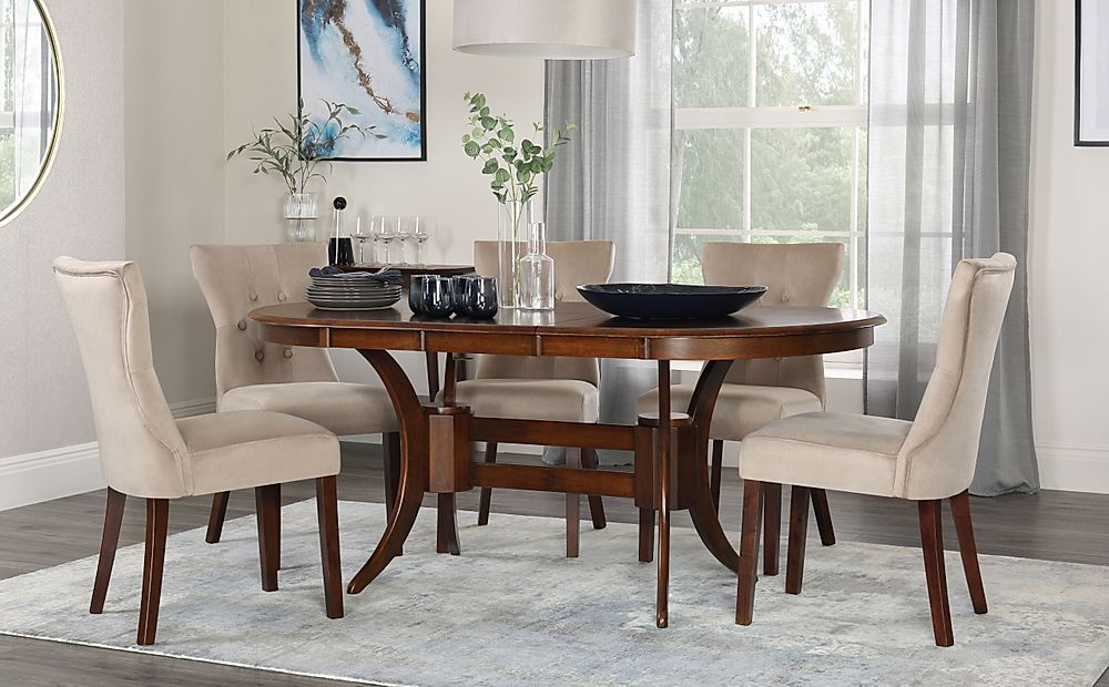 Townhouse Oval Walnut Extending Dining Table with 6 Bewley Mink Velvet Chairs