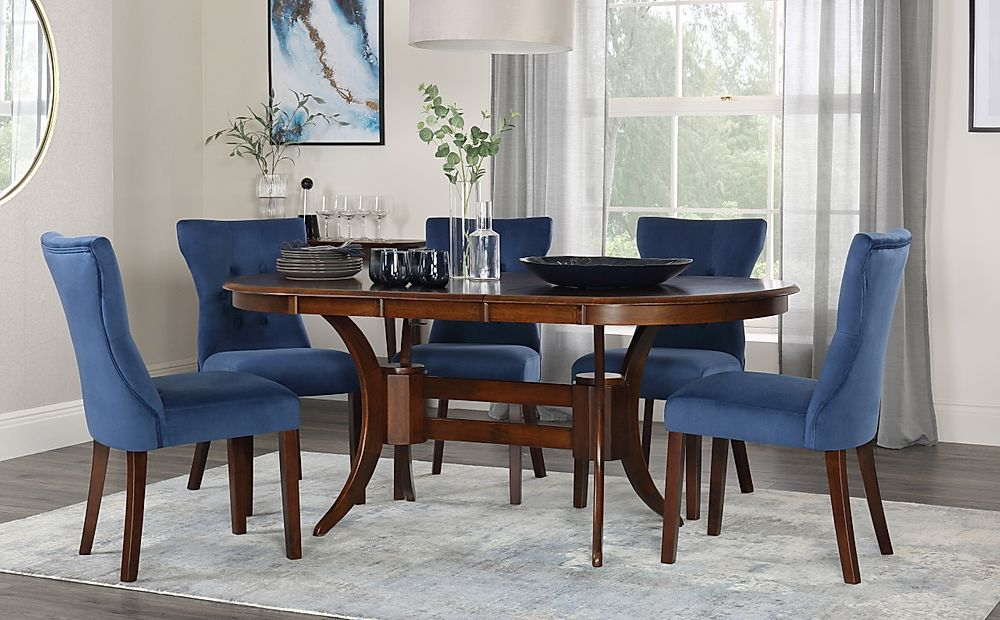 Townhouse Oval Walnut Extending Dining Table with 4 Bewley Blue Velvet Chairs