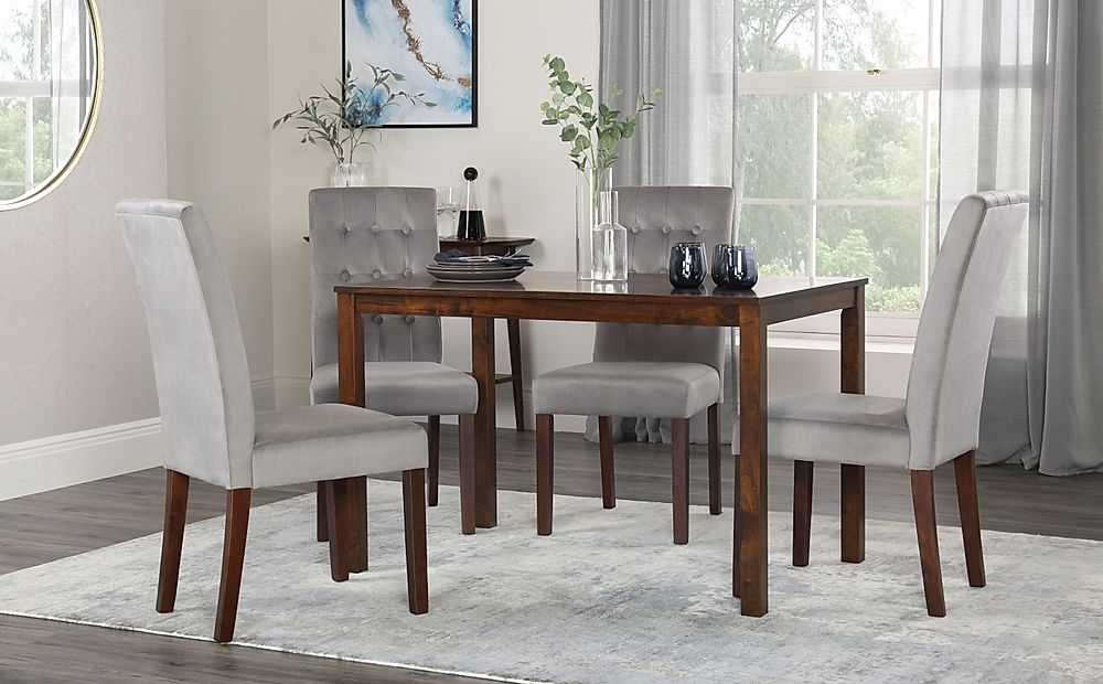 Milton Walnut Dining Table with 4 Regent Grey Velvet Chairs