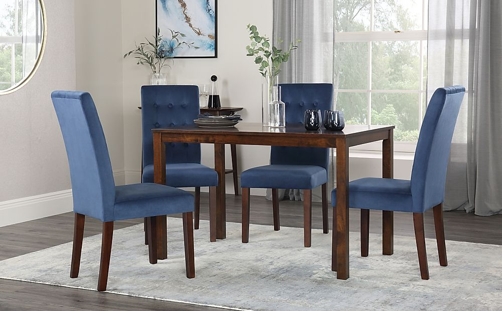 Milton Walnut Dining Table with 4 Regent Blue Velvet Chairs