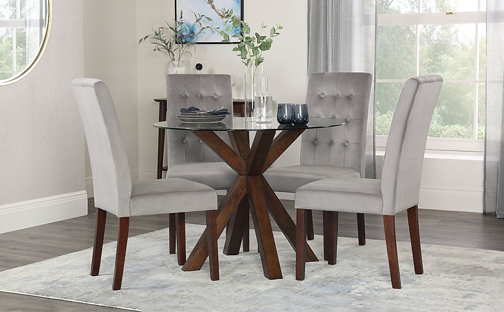 Hatton Round Walnut and Glass Dining Table with 4 Regent Grey Velvet Chairs