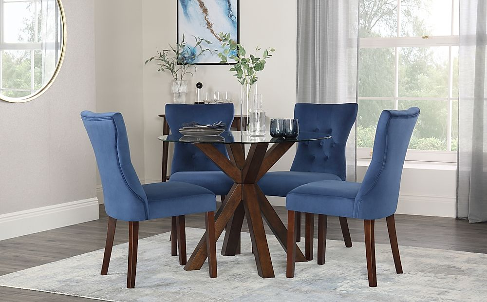 Hatton Round Walnut and Glass Dining Table with 4 Bewley Blue Velvet Chairs