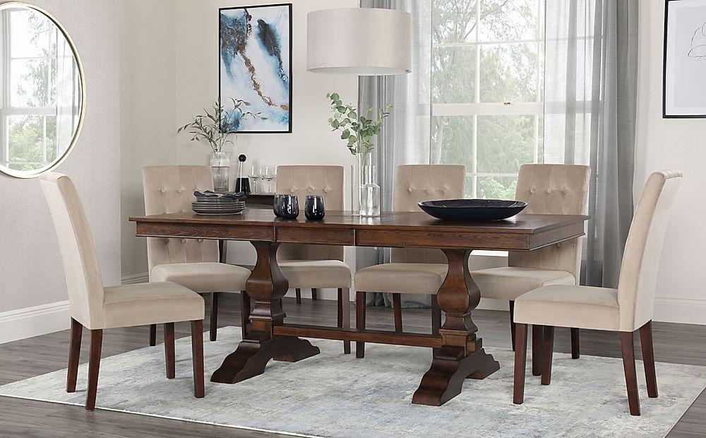 Cavendish Dark Wood Extending Dining Table with 6 Regent Mink Velvet Chairs