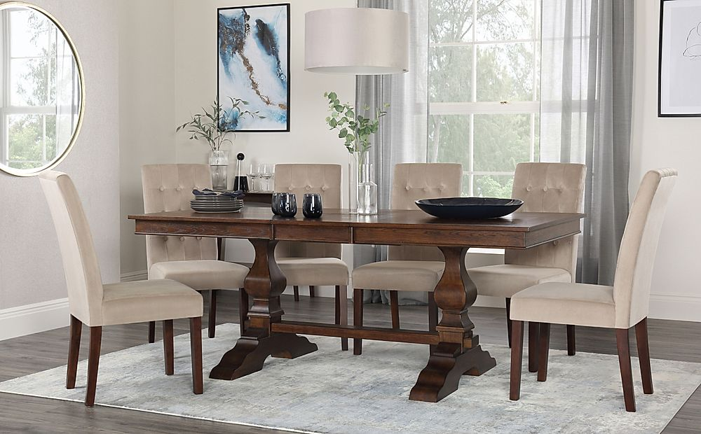 Cavendish Walnut Extending Dining Table with 8 Regent Mink Velvet Chairs
