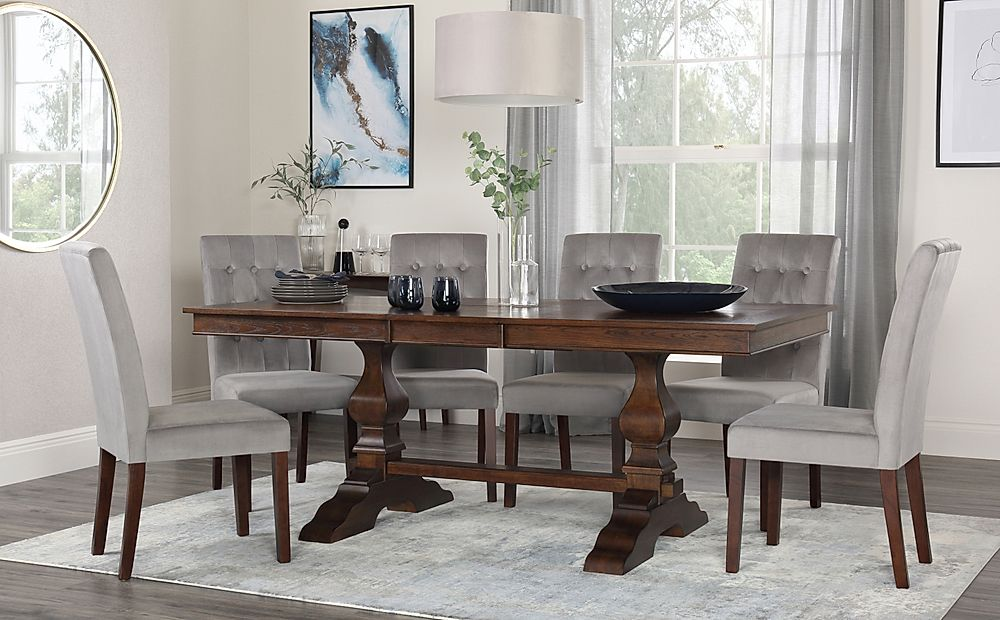 Cavendish Walnut Extending Dining Table with 8 Regent Grey Velvet Chairs