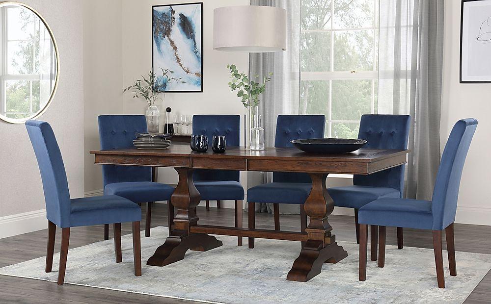 Cavendish Walnut Extending Dining Table with 6 Regent Blue Velvet Chairs