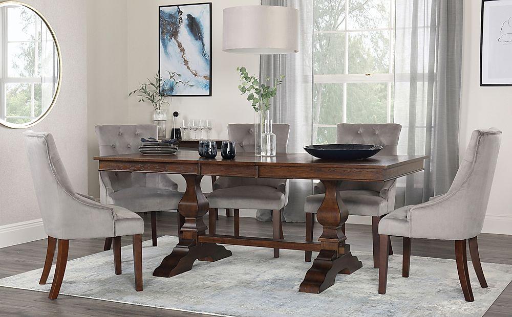 Cavendish Walnut Extending Dining Table with 6 Duke Grey Velvet Chairs