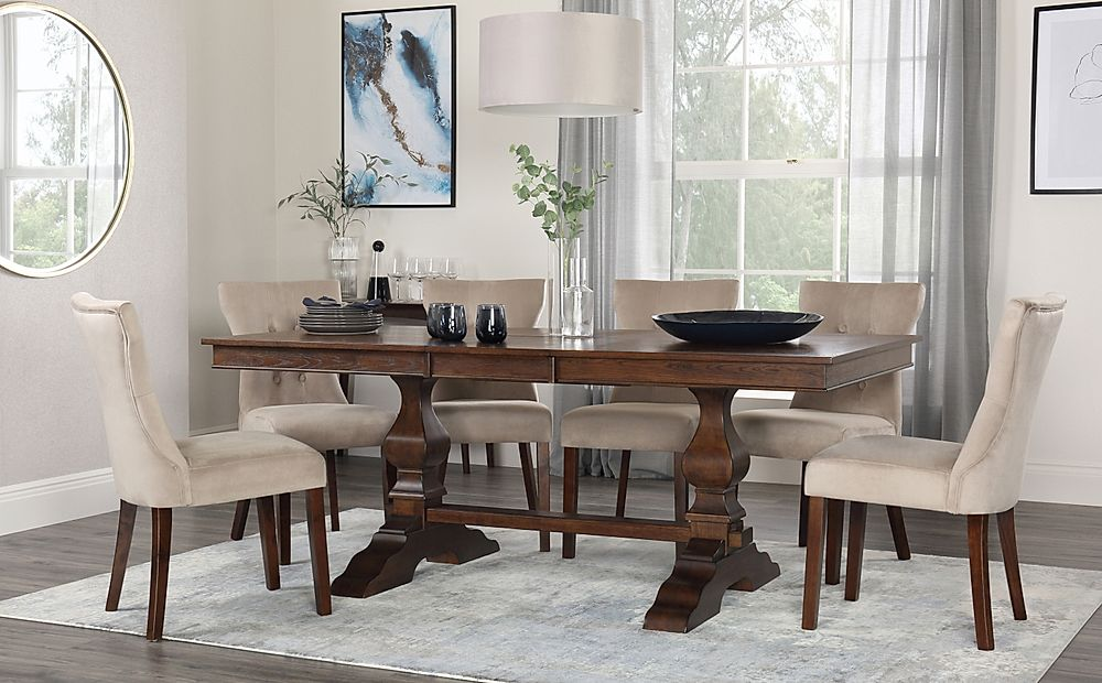 Cavendish Walnut Extending Dining Table with 8 Bewley Mink Velvet Chairs